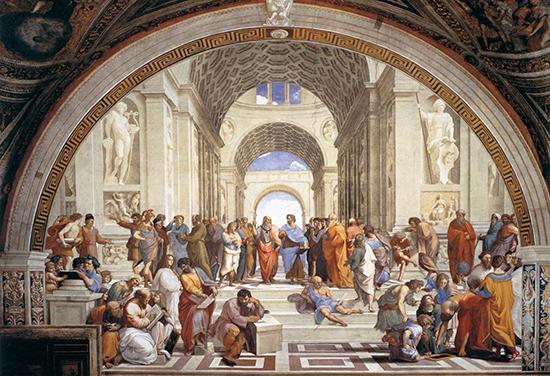 Escuela de Atenas, fresco por Rafael Sanzio