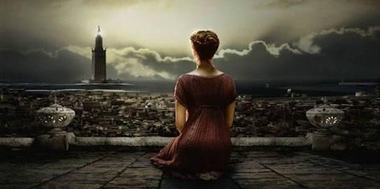 Hypatia observando hacia el Ágora (escena de la pelicula
